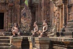 Ruinen Banteay Srei an den Angkor Wat historischen Ruinen stockfotografie