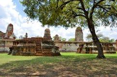 Ruinen bei Wat Maha That in Ayutthaya Stockfotografie