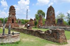 Ruinen bei Wat Maha That in Ayutthaya Lizenzfreie Stockbilder