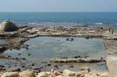 Ruinen, Caesarea stockbilder