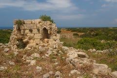Ruinen der alten byzantinischen Stadt von Afendrika Stockfotografie