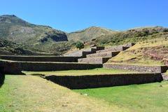 Ruinen der alten Inkastadt von TipÃ-³ n, nahe zu Cusco, Peru lizenzfreie stockfotografie