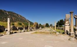 Ruinen der alten Stadt - Ephesus in der Türkei Stockfotografie