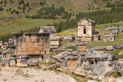 Ruinen der alten Stadt Hierapolis, jetzt Pamukkale stockfoto