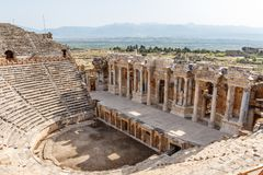 Ruinen der alten Stadt Hierapolis, jetzt Pamukkale lizenzfreies stockbild
