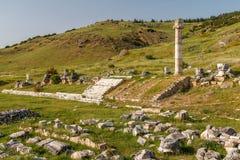 Ruinen der alten Stadt Hierapolis, jetzt Pamukkale stockfotografie