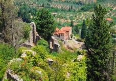 Ruinen der alten Stadt in Mystras, Griechenland Stockbild