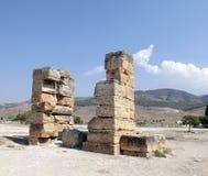 Ruinen der alten Stadt von Hierapolis Pamukkale die Türkei Stockfotografie