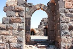Ruinen der des 12. Jahrhundertsfestung des Hospitallers - des Belvoir - des Jordan Stars - in Jordan Star National Park nahe Aful Stockbild