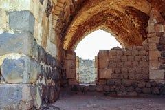 Ruinen der des 12. Jahrhundertsfestung des Hospitallers - des Belvoir - des Jordan Stars - in Jordan Star National Park nahe Aful stockfotografie