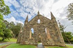 Ruinen der Kirche im Hafen Arthur Historic Site Lizenzfreies Stockfoto
