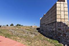 Ruinen der mittelalterlichen Festung Krakra vom Zeitraum des ersten bulgarischen Reiches, Pernik, Bulgarien Lizenzfreie Stockfotos