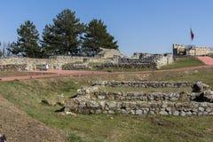 Ruinen der mittelalterlichen Festung Krakra vom Zeitraum des ersten bulgarischen Reiches, Pernik, Bulgarien Lizenzfreies Stockbild