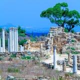 Ruinen der Salamis nähern sich Famagusta Lizenzfreies Stockbild
