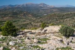 Ruinen der veralteten Stadt von Mycenae Stockbild