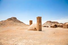 Ruinen der Zoroastrian-Kontrolltürme der Ruhe Yazd. Der Iran. Stockfotos