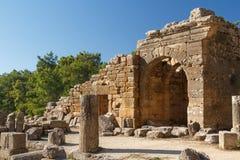 Ruinen des Altgriechischen und der römischen Stadt Seleucia u. x28; Pamphylia& x29; lizenzfreie stockfotografie