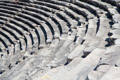 Ruinen des antiken Theaters in der Seite, die Türkei Stockbild