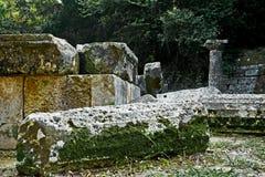 Ruinen des Doric Tempels bei Montag Repos parken, Korfu Lizenzfreie Stockfotografie