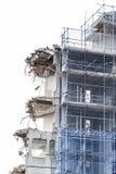 Ruinen des Gebäudes unter Zerstörung, städtische Szene Lizenzfreies Stockfoto
