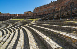 Ruinen des griechischen Theaters in Taormina, Sizilien, Italien Lizenzfreie Stockbilder