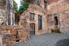 Ruinen des Hochofens in Shropshire, England stockbilder