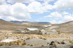 Ruinen des Inkahauses in der Wüste Stockbild