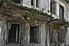 Ruinen des schäbigen Gebäudes abgedeckt durch Vegetation lizenzfreie stockbilder