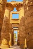 Ruinen des schönen alten Tempels in Luxor Ruinen des zentralen Tempels von Amun-Ra stockbild