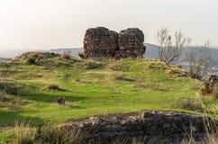Ruinen des Schlosses von ZaÃda, AlcaucÃn, MÃ-¡ laga Lizenzfreies Stockfoto