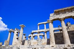 Ruinen des Tempels auf Insel Aegina, Griechenland Lizenzfreie Stockfotos
