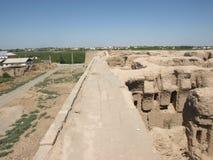 Ruinen Kyr Kyz nahe Termiz Stockfotografie