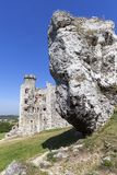 Ruinen mittelalterlichen Schlosses des des 14. Jahrhunderts, Ogrodzieniec-Schloss, Spur Eagless nistet, Podzamcze, Polen Stockfotos