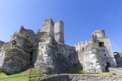 Ruinen mittelalterlichen Schlosses des des 14. Jahrhunderts, Ogrodzieniec-Schloss, Spur Eagless nistet, Podzamcze, Polen Stockfotografie