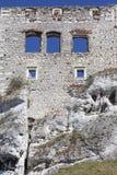 Ruinen mittelalterlichen Schlosses des des 14. Jahrhunderts, Ogrodzieniec-Schloss, Spur Eagless nistet, Podzamcze, Polen Lizenzfreies Stockbild