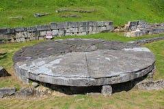 """Ruinen Sarmizegetusa Regia - das """"Andesite Sun Lizenzfreie Stockbilder"""