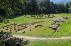 Ruinen Sarmizegetusa Regia - der heilige Bereich Stockfotografie