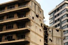 Ruinen vom libanesischen Bürgerkrieg stockbild