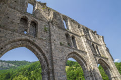 Ruinen von Abtei Heilig-Jean-d& x27; Aulps, Frankreich Lizenzfreies Stockfoto