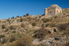 Ruinen von Acrocorinth-Akropolise Lizenzfreies Stockfoto