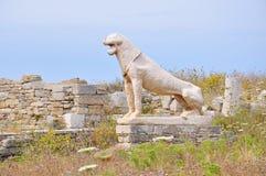 Ruinen von altem Delos, Insel nahe Mykonos, Griechenland lizenzfreies stockfoto