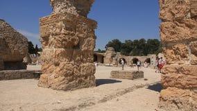 Ruinen von altem Karthago in Tunesien stock footage