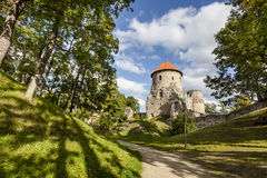 Ruinen von Cesis-Schloss, Lettland lizenzfreie stockbilder