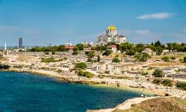 Ruinen von Chersonesus, eine altgriechische Kolonie Sewastopol, Krim lizenzfreie stockfotografie