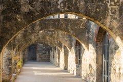 Ruinen von Convento und Bögen des Auftrags San Jose in San Antonio, Texas lizenzfreie stockfotografie