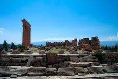 Ruinen von Jupiter-Tempel und von großem Gericht von Heliopolis in Baalbek, Bekaa Valley, der Libanon Lizenzfreies Stockbild