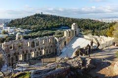Ruinen von Odeon von Herodes-Atticus in der Akropolise von Athen, Attika Stockfotos