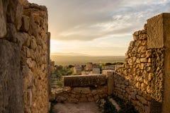 Ruinen von Volubilis bei Sonnenuntergang Lizenzfreies Stockfoto