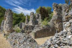 Ruinen von Wolvesey-Schloss, Winchester, England Lizenzfreies Stockbild