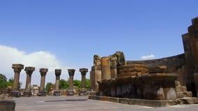 Ruinen von Zvartnots-Kathedrale, Kirchhof von stillen Geheimnissen, UNESCO-Erbe stock footage